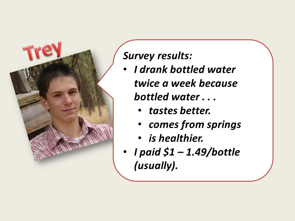Survey results: I drank bottled water twice a week because bottled water... tastes better. comes from springs is healthier. I paid $1 – 1.49/bottle (u