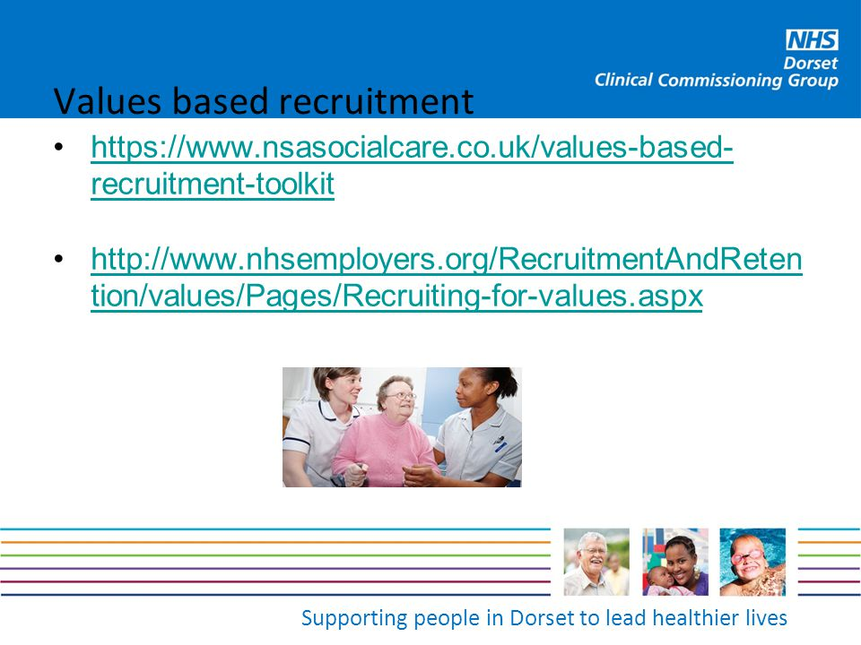 Supporting people in Dorset to lead healthier lives Values based recruitment https://www.nsasocialcare.co.uk/values-based- recruitment-toolkithttps://