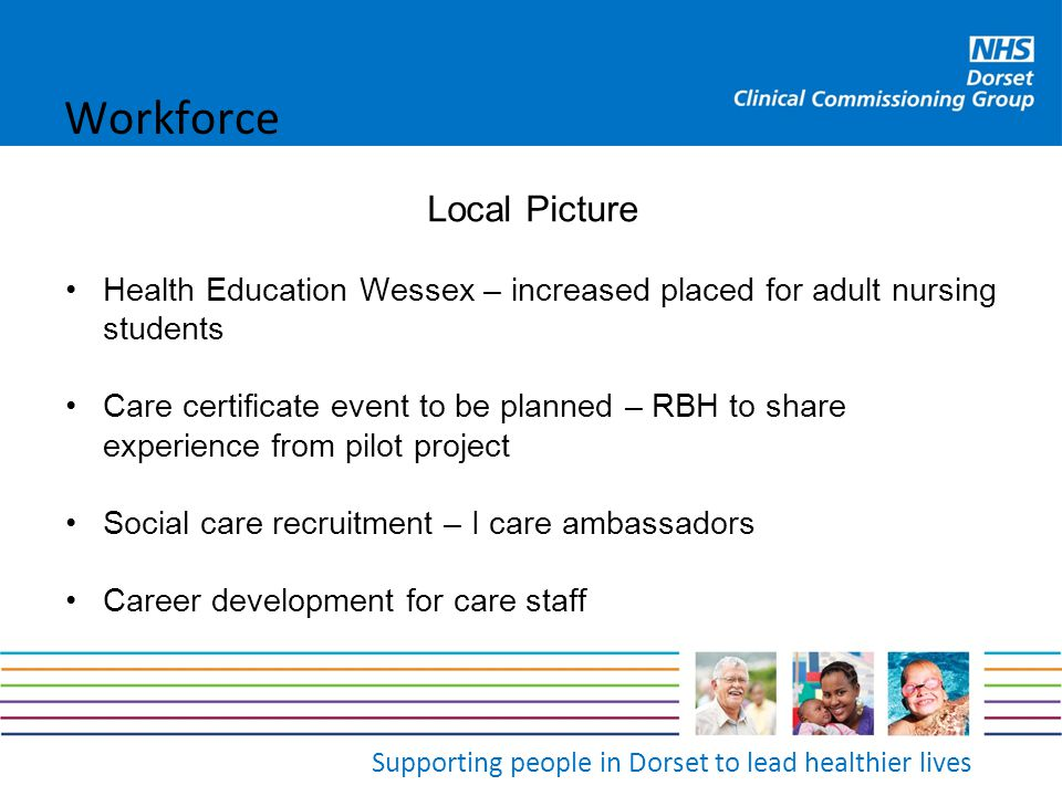 Supporting people in Dorset to lead healthier lives Local Picture Health Education Wessex – increased placed for adult nursing students Care certifica