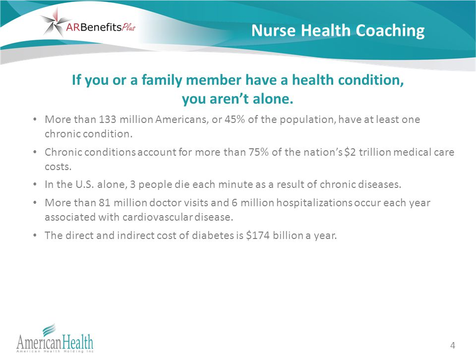 4 Nurse Health Coaching If you or a family member have a health condition, you aren't alone.