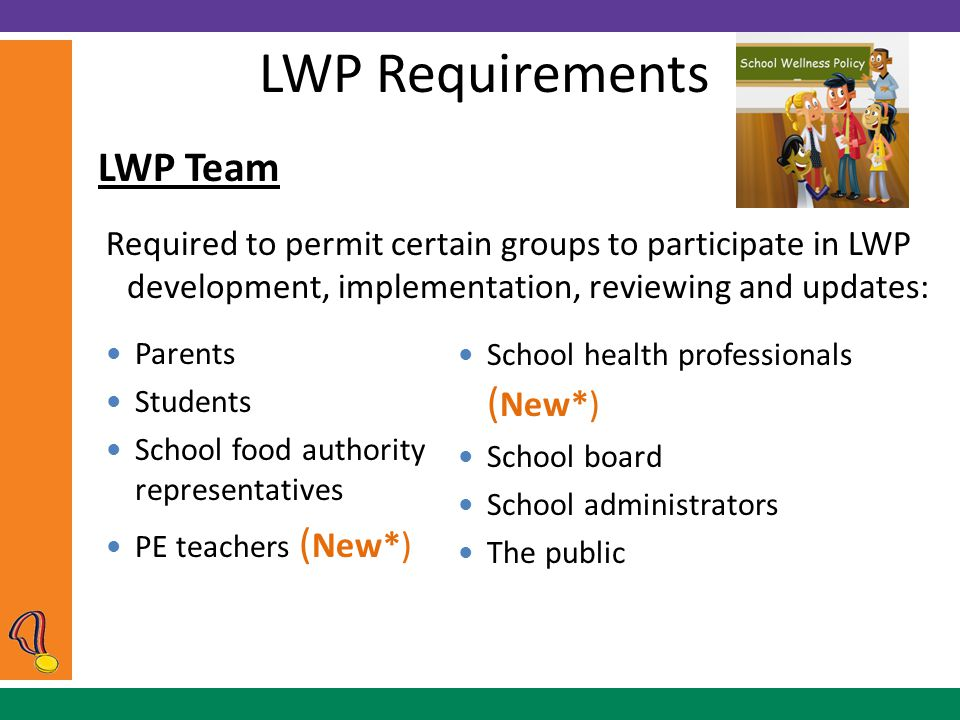 LWP Requirements LWP Team Required to permit certain groups to participate in LWP development, implementation, reviewing and updates: Parents Students School food authority representatives PE teachers ( New*) School health professionals ( New*) School board School administrators The public