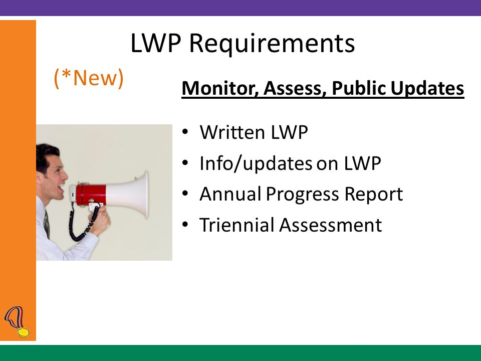 LWP Requirements Monitor, Assess, Public Updates Written LWP Info/updates on LWP Annual Progress Report Triennial Assessment (*New)