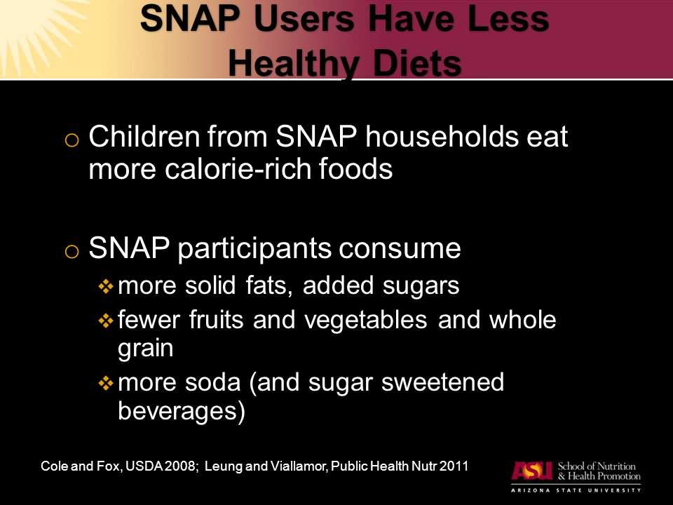 SNAP Users Have Less Healthy Diets o Children from SNAP households eat more calorie-rich foods o SNAP participants consume  more solid fats, added sugars  fewer fruits and vegetables and whole grain  more soda (and sugar sweetened beverages) Cole and Fox, USDA 2008; Leung and Viallamor, Public Health Nutr 2011