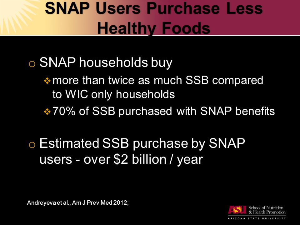 SNAP Users Purchase Less Healthy Foods o SNAP households buy  more than twice as much SSB compared to WIC only households  70% of SSB purchased with SNAP benefits o Estimated SSB purchase by SNAP users - over $2 billion / year Andreyeva et al., Am J Prev Med 2012;