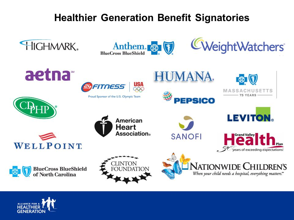Healthier Generation Benefit Signatories
