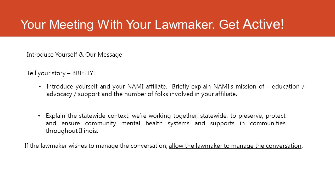 Your Meeting With Your Lawmaker. Get Active.