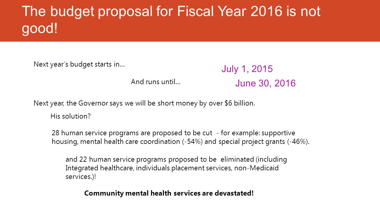 First, here's the impact of this proposal Cutting an already stressed mental health budget leads to: A responsible and honest budget must include new revenues.