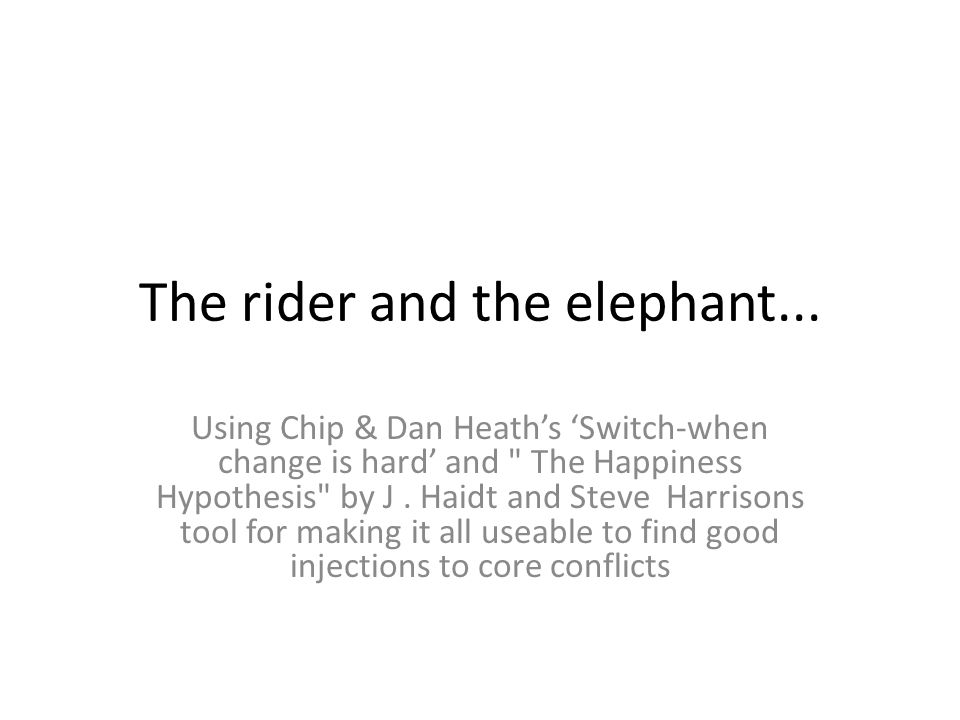 The rider and the elephant... Using Chip & Dan Heath's 'Switch-when change is hard' and