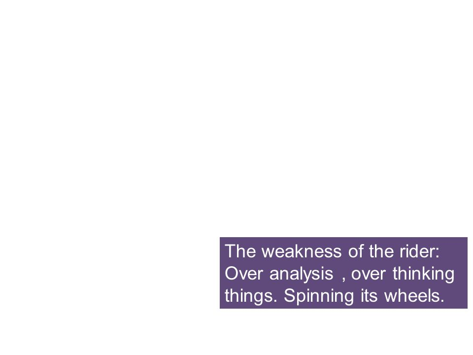 The weakness of the rider: Over analysis, over thinking things. Spinning its wheels.