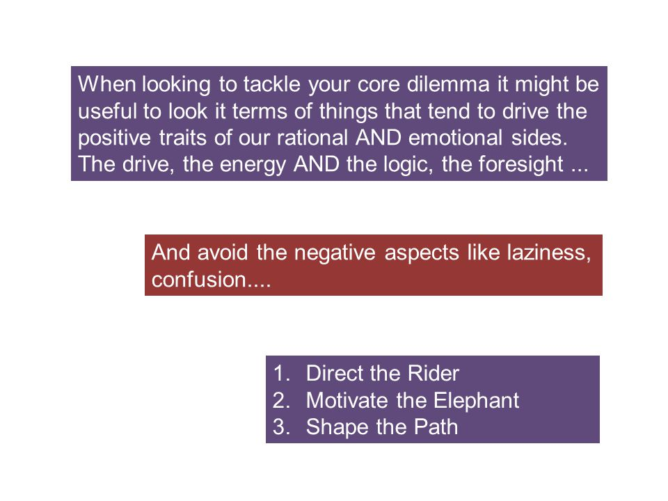 When looking to tackle your core dilemma it might be useful to look it terms of things that tend to drive the positive traits of our rational AND emot