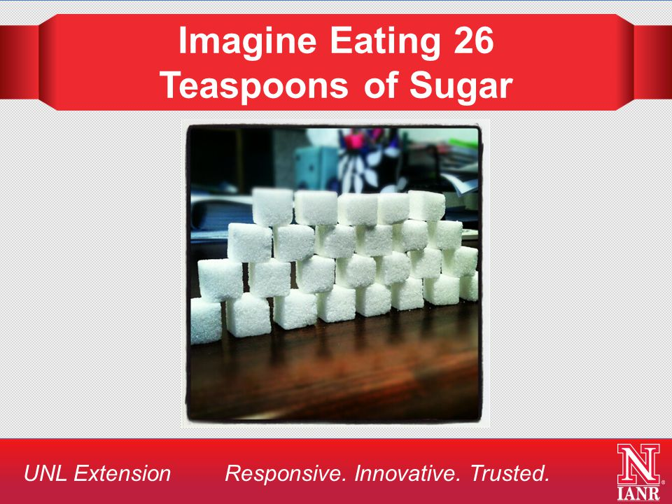 UNL Extension Responsive. Innovative. Trusted. Imagine Eating 26 Teaspoons of Sugar