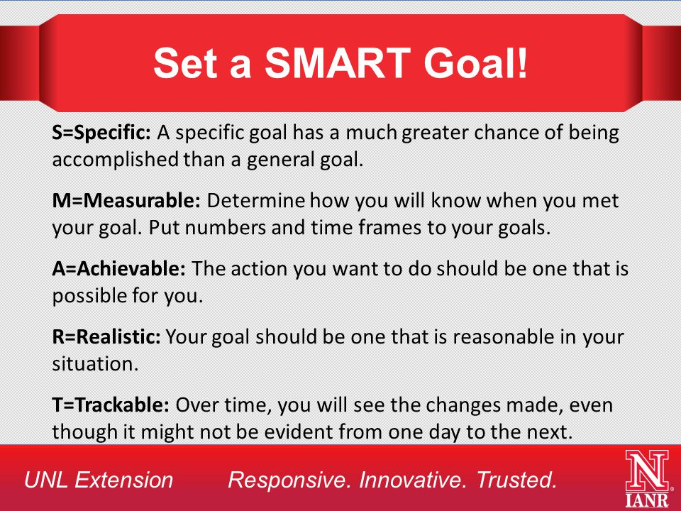 UNL Extension Responsive. Innovative. Trusted. Set a SMART Goal.