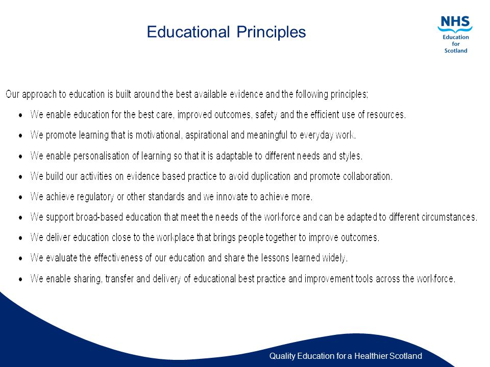 Quality Education for a Healthier Scotland Educational Principles