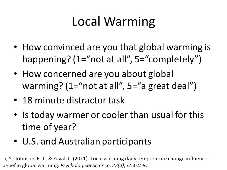 Local Warming How convinced are you that global warming is happening.