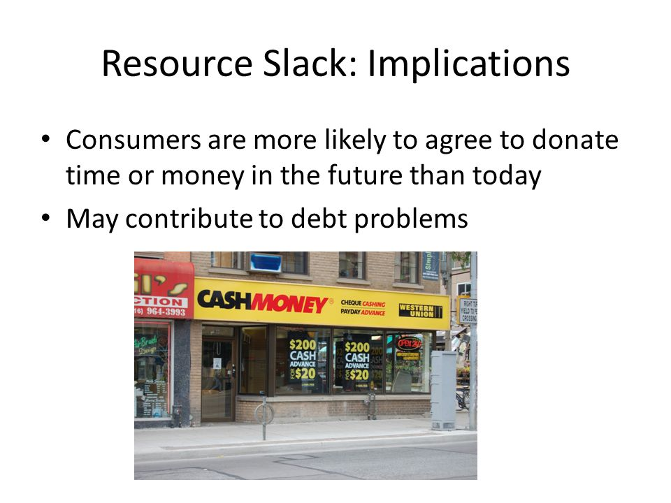 Resource Slack: Implications Consumers are more likely to agree to donate time or money in the future than today May contribute to debt problems