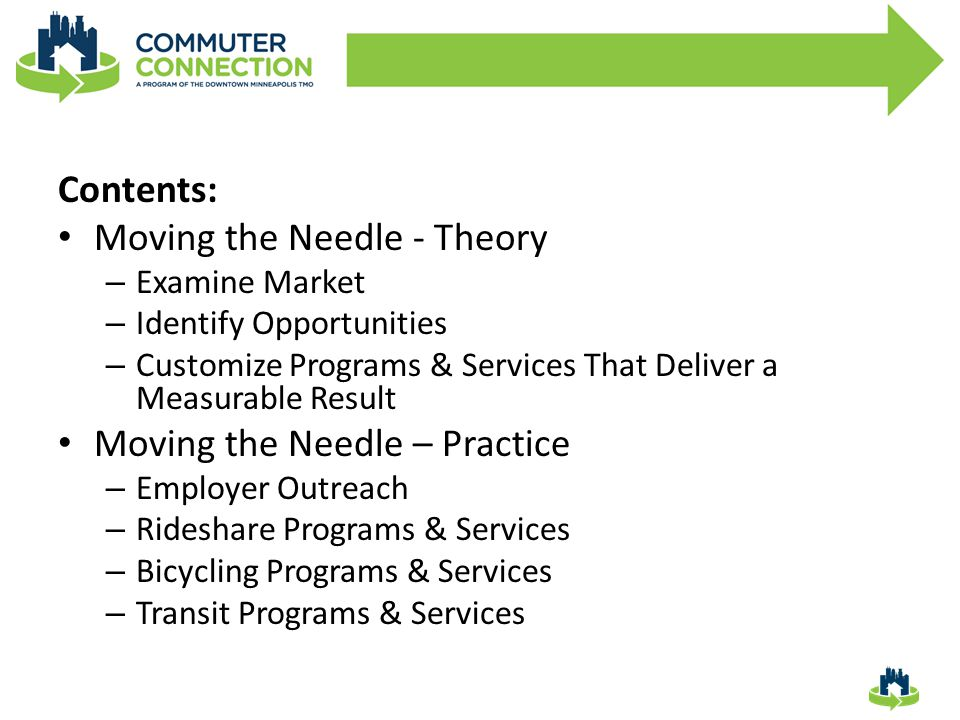 Moving the Needle - Theory 1.Examine Market 2.Identify Opportunities 3.Customize Programs and Services that Deliver a Measurable Result