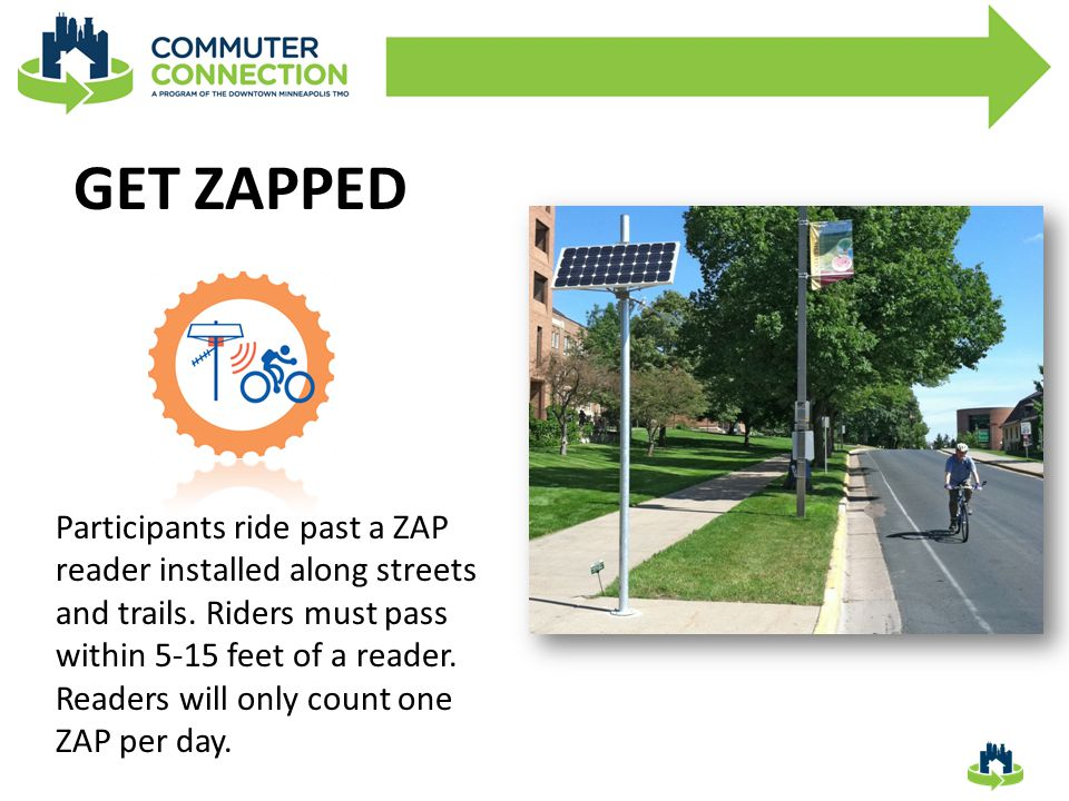 GET ZAPPED Participants ride past a ZAP reader installed along streets and trails.