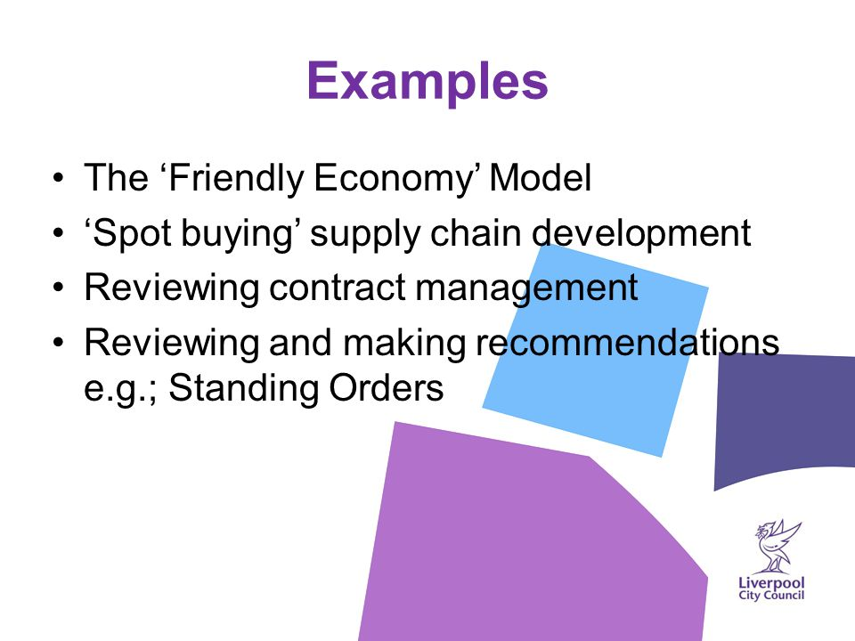 Examples The 'Friendly Economy' Model 'Spot buying' supply chain development Reviewing contract management Reviewing and making recommendations e.g.; Standing Orders