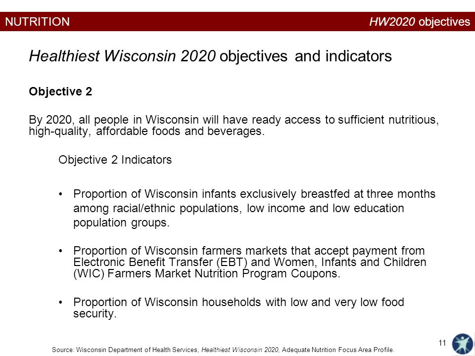NUTRITION Objective 2 By 2020, all people in Wisconsin will have ready access to sufficient nutritious, high-quality, affordable foods and beverages.