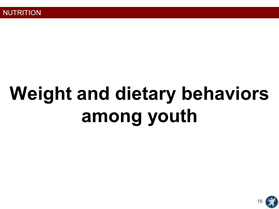 NUTRITION Weight and dietary behaviors among youth 16