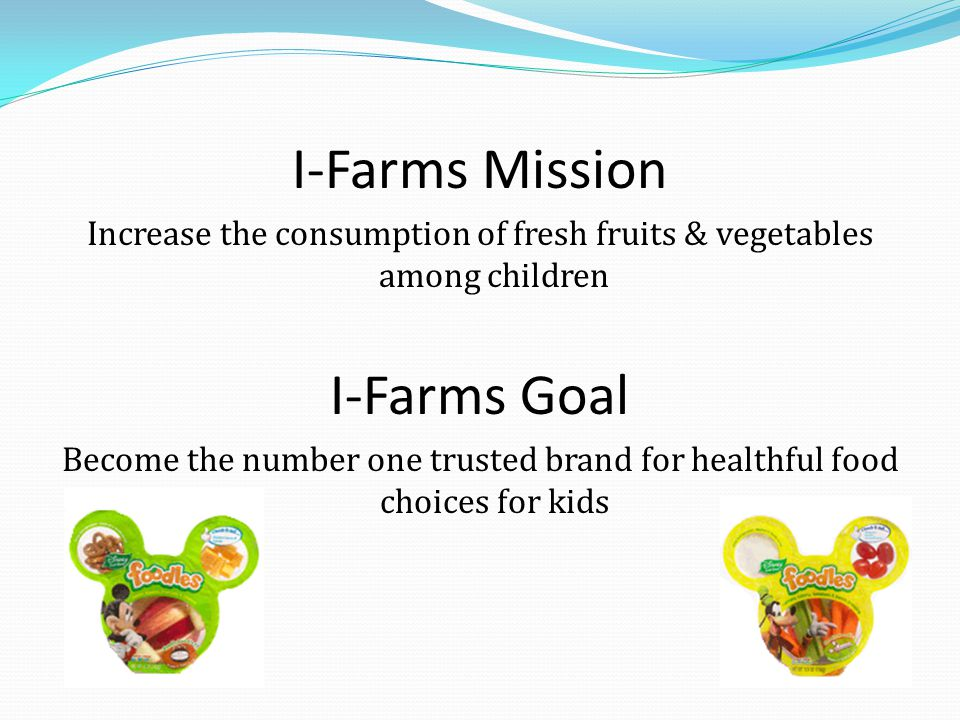 I-Farms Mission Increase the consumption of fresh fruits & vegetables among children I-Farms Goal Become the number one trusted brand for healthful food choices for kids