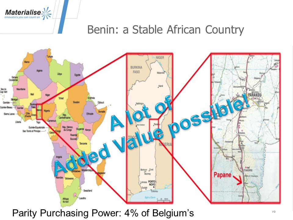 Benin: a Stable African Country 16 Parity Purchasing Power: 4% of Belgium's