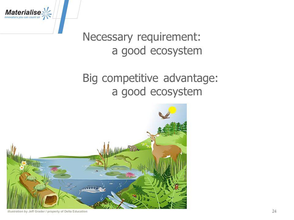 24 Necessary requirement: a good ecosystem Big competitive advantage: a good ecosystem