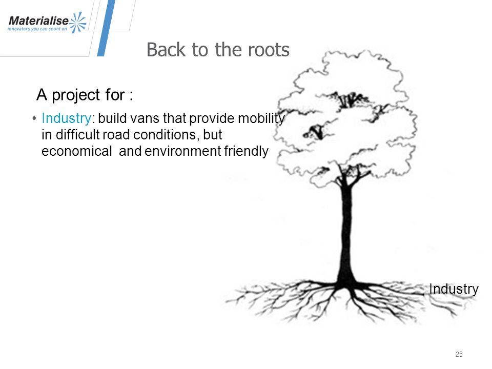 A project for : 25 Back to the roots Industry: build vans that provide mobility in difficult road conditions, but economical and environment friendly Industry