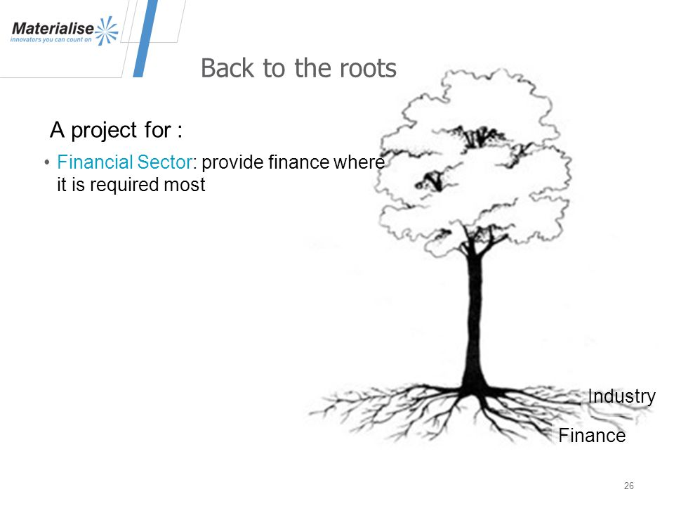 A project for : 26 Back to the roots Financial Sector: provide finance where it is required most Industry Finance