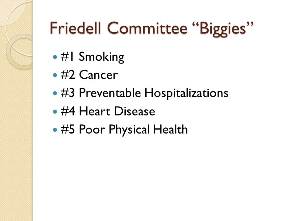 Friedell Committee Biggies #1 Smoking #2 Cancer #3 Preventable Hospitalizations #4 Heart Disease #5 Poor Physical Health