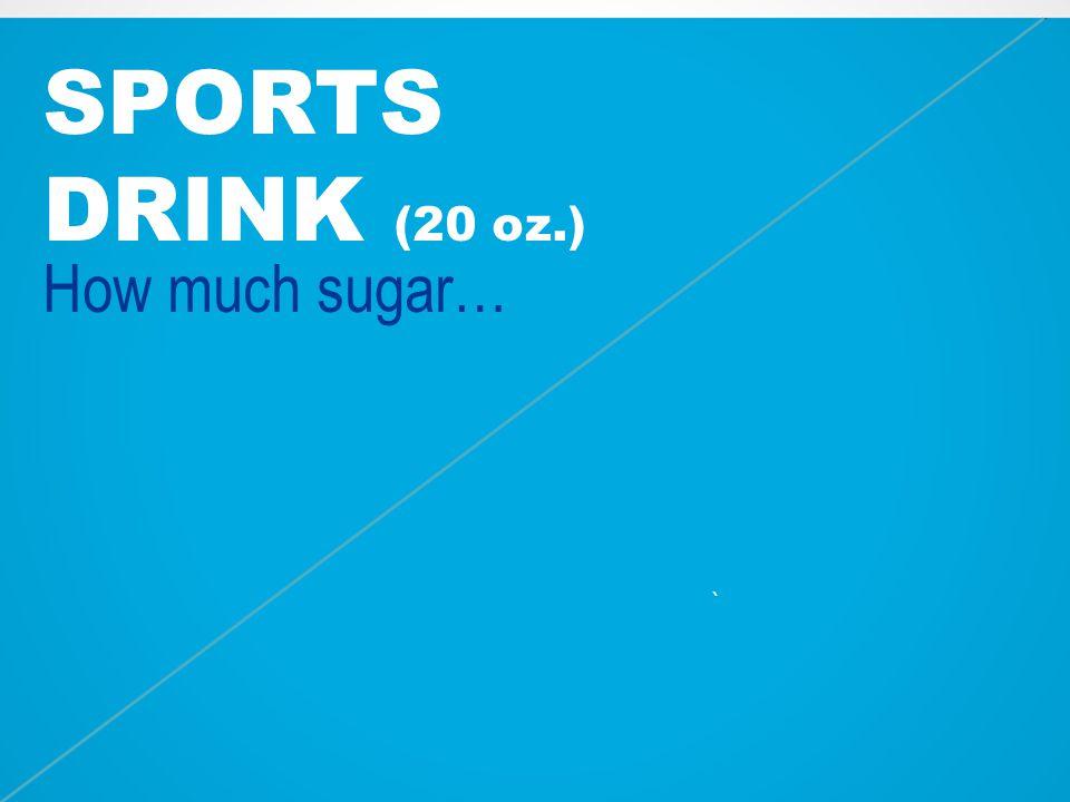 SPORTS DRINK (20 oz.) How much sugar… ~9 tsp. `