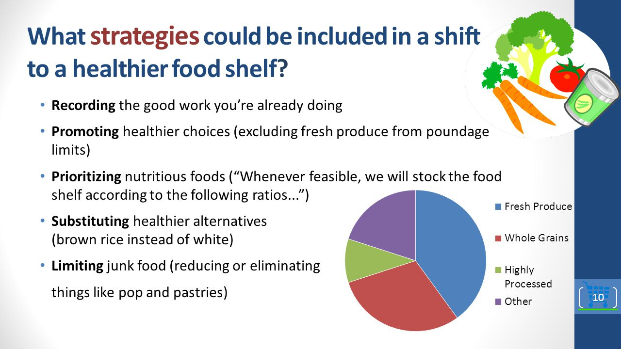 What strategies could be included in a shift to a healthier food shelf.