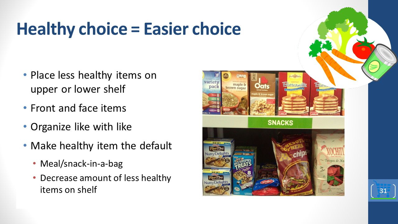 Healthy choice = Easier choice Place less healthy items on upper or lower shelf Front and face items Organize like with like Make healthy item the default Meal/snack-in-a-bag Decrease amount of less healthy items on shelf 31