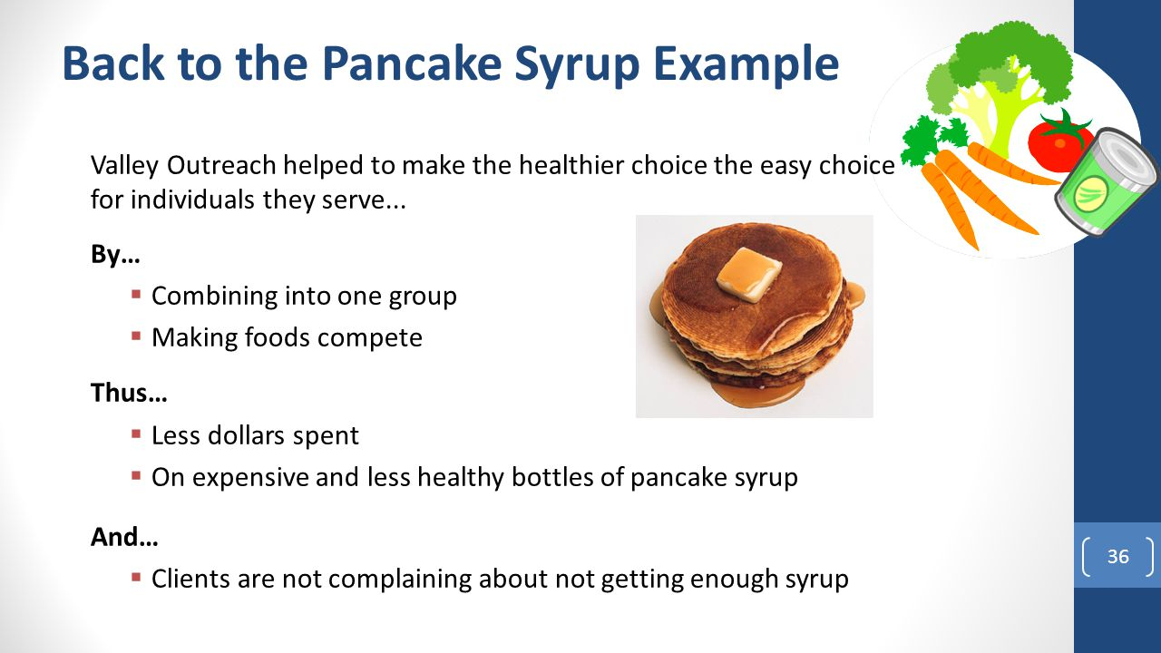 Back to the Pancake Syrup Example Valley Outreach helped to make the healthier choice the easy choice for individuals they serve...