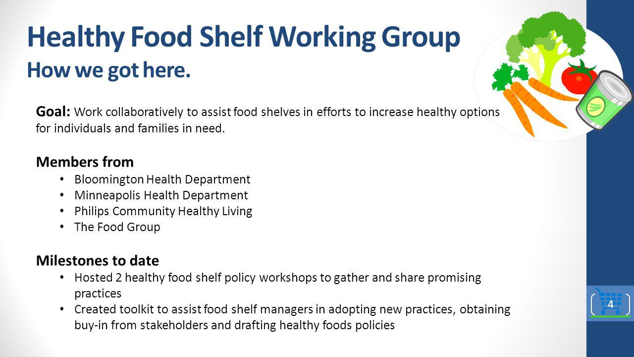 Healthy Food Shelf Working Group How we got here.