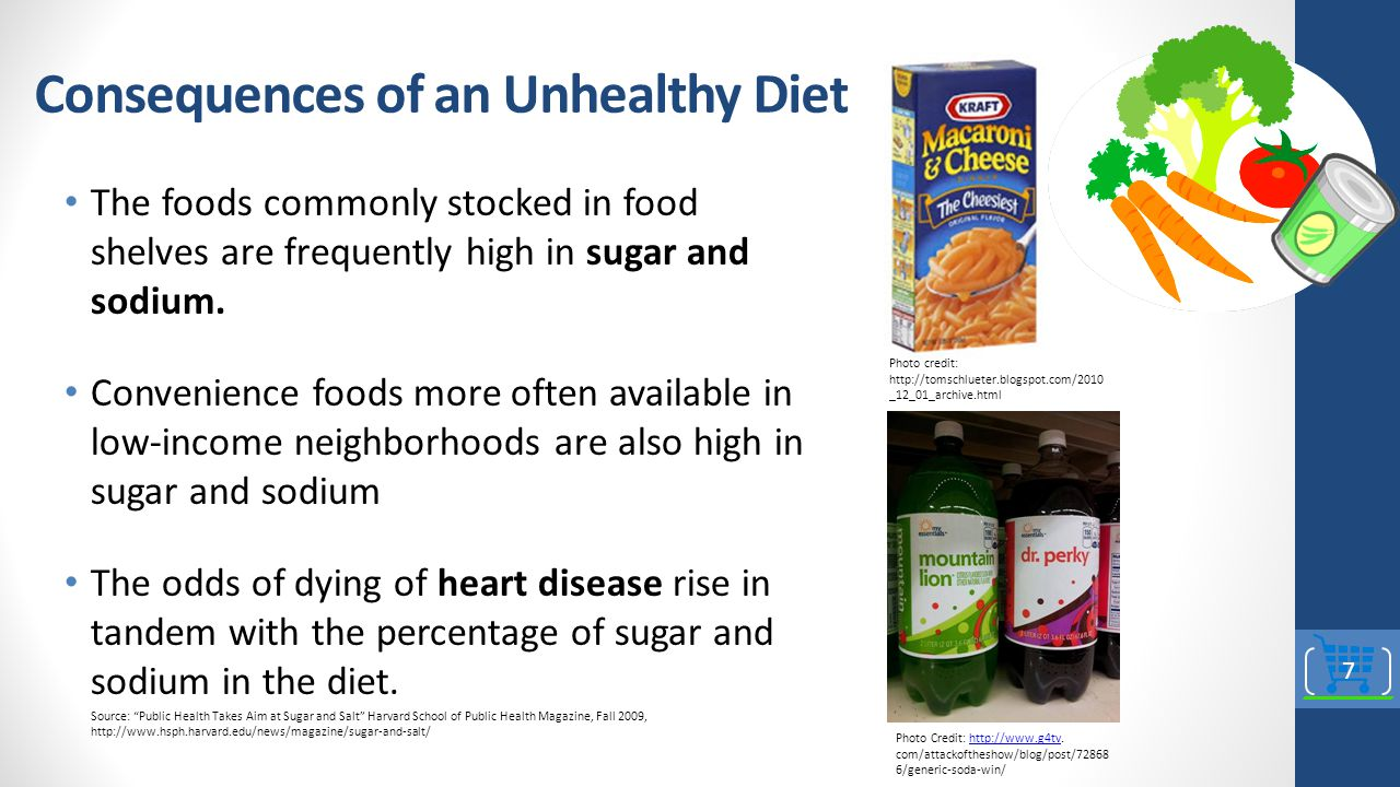 Consequences of an Unhealthy Diet The foods commonly stocked in food shelves are frequently high in sugar and sodium.