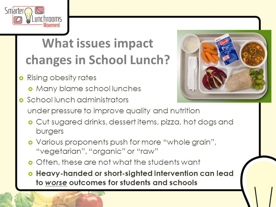 © BEN Center 2013 What issues impact changes in School Lunch.