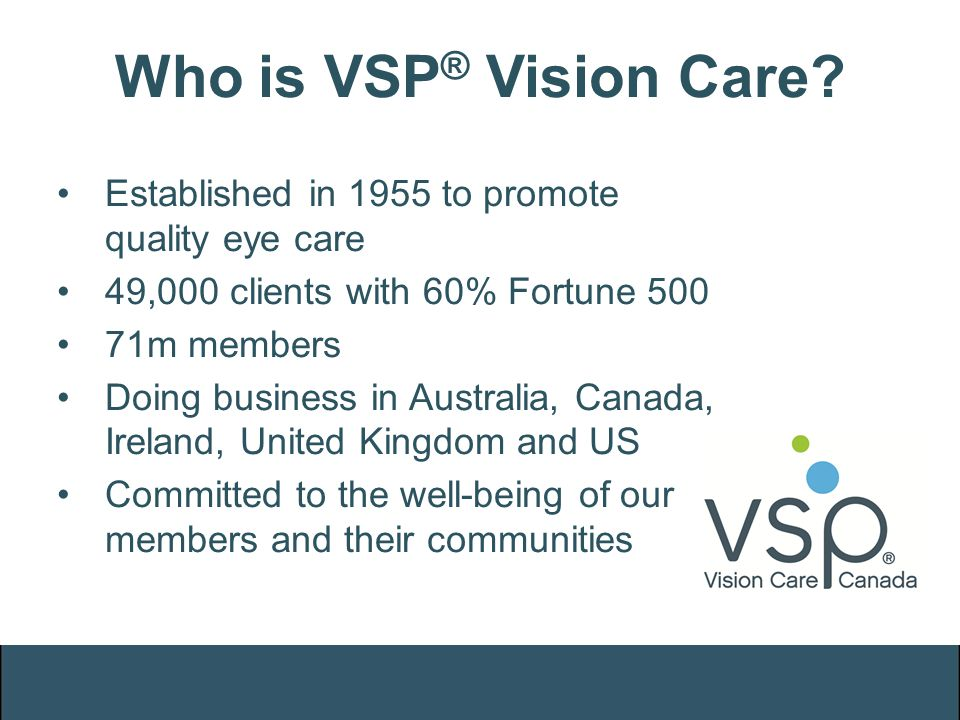 Who is VSP ® Vision Care? Established in 1955 to promote quality eye care 49,000 clients with 60% Fortune 500 71m members Doing business in Australia,
