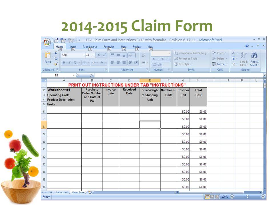 2014-2015 Claim Form