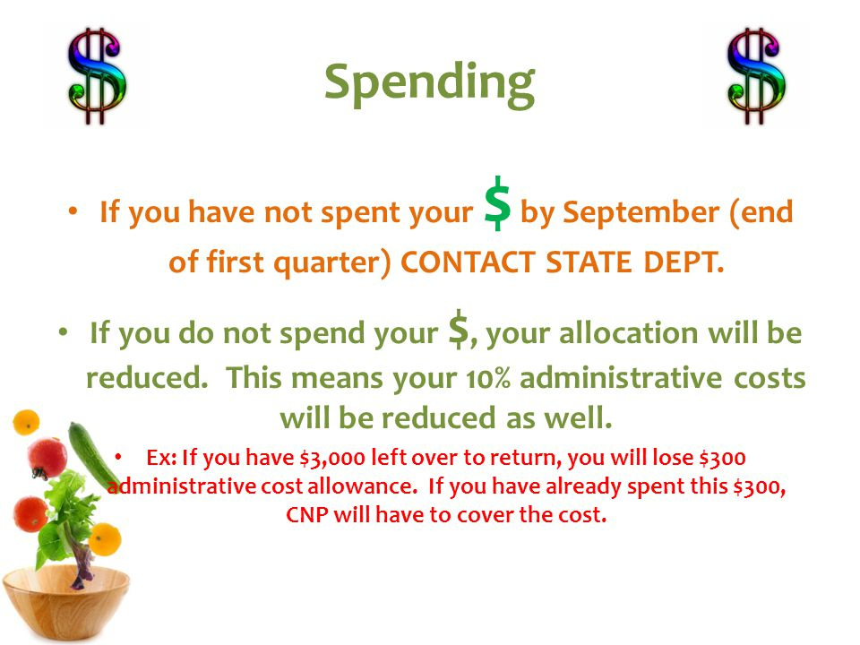 Spending If you have not spent your $ by September (end of first quarter) CONTACT STATE DEPT.