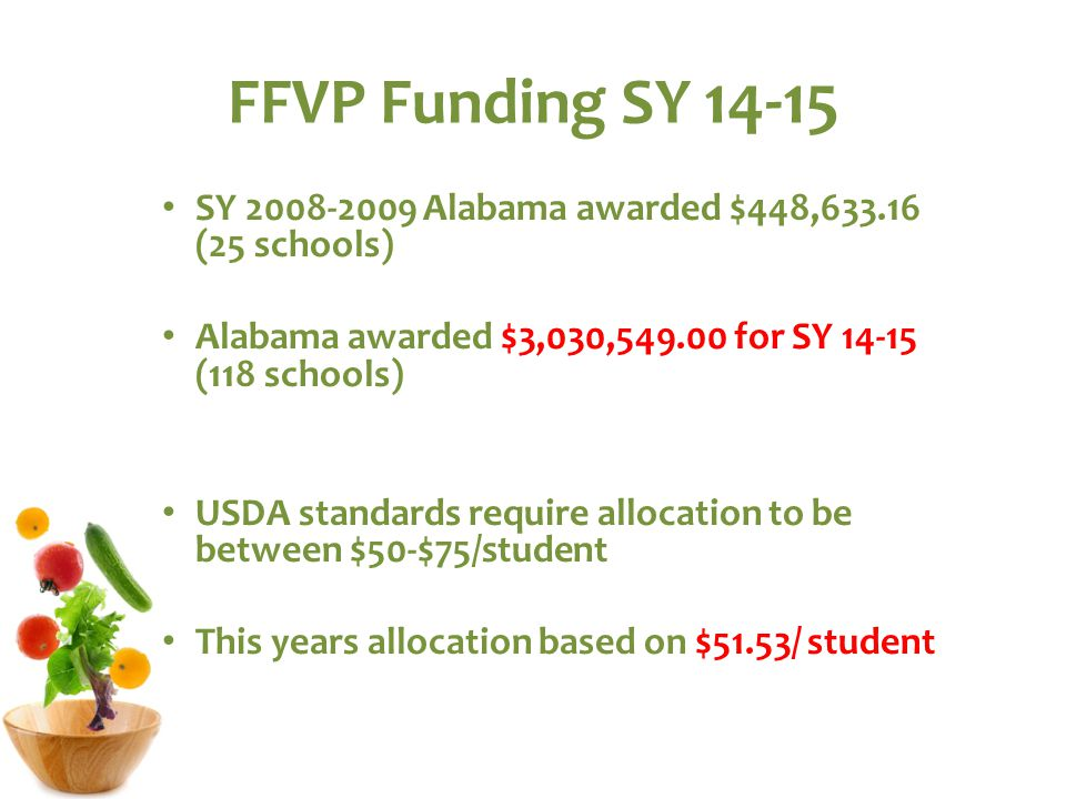 FFVP Funding SY 14-15 SY 2008-2009 Alabama awarded $448,633.16 (25 schools) Alabama awarded $3,030,549.00 for SY 14-15 (118 schools) USDA standards require allocation to be between $50-$75/student This years allocation based on $51.53/ student