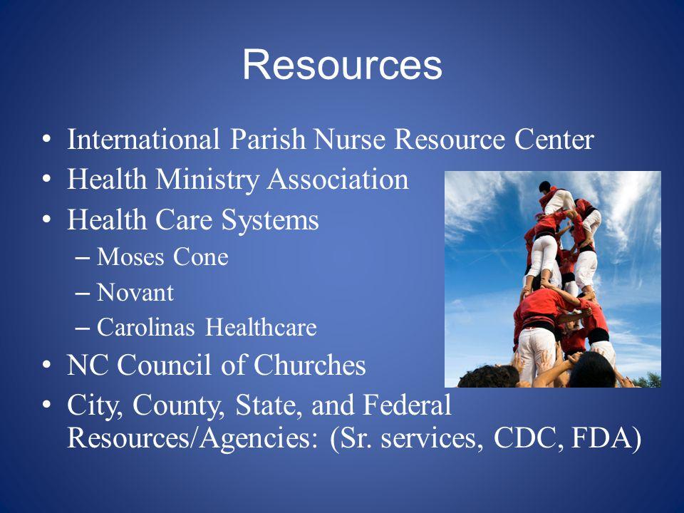 Resources International Parish Nurse Resource Center Health Ministry Association Health Care Systems – Moses Cone – Novant – Carolinas Healthcare NC C