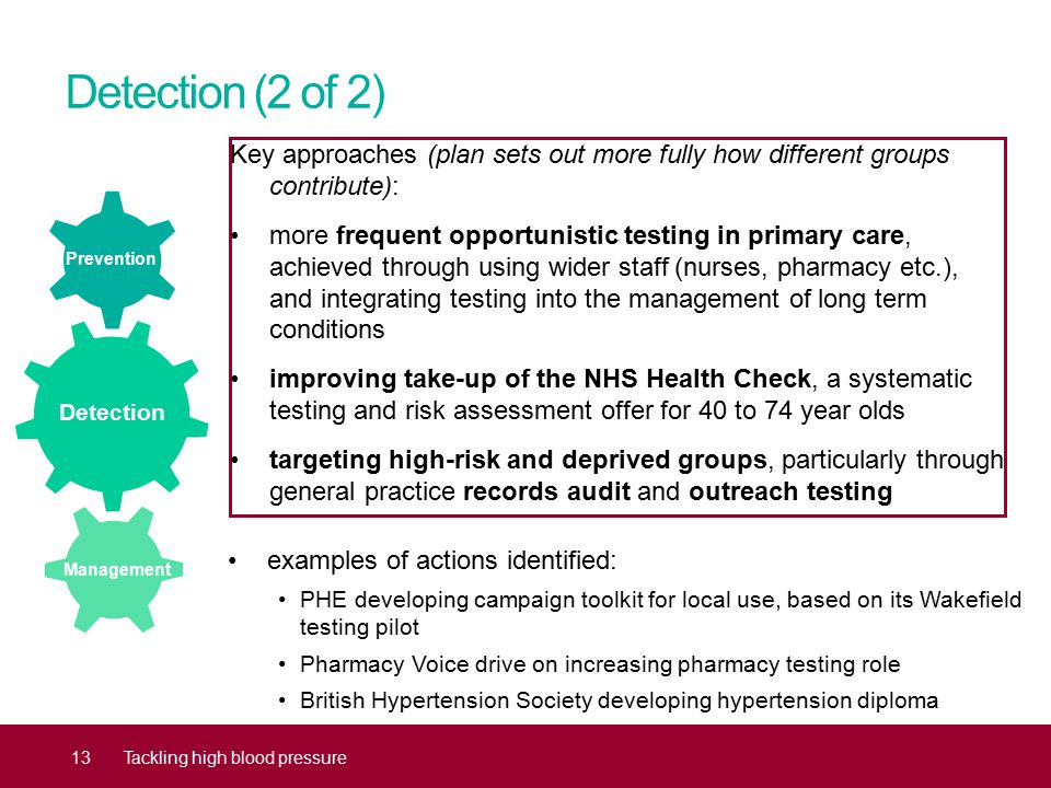 Detection (2 of 2) Key approaches (plan sets out more fully how different groups contribute): more frequent opportunistic testing in primary care, achieved through using wider staff (nurses, pharmacy etc.), and integrating testing into the management of long term conditions improving take-up of the NHS Health Check, a systematic testing and risk assessment offer for 40 to 74 year olds targeting high-risk and deprived groups, particularly through general practice records audit and outreach testing 13Tackling high blood pressure examples of actions identified: PHE developing campaign toolkit for local use, based on its Wakefield testing pilot Pharmacy Voice drive on increasing pharmacy testing role British Hypertension Society developing hypertension diploma Prevention Detection Management