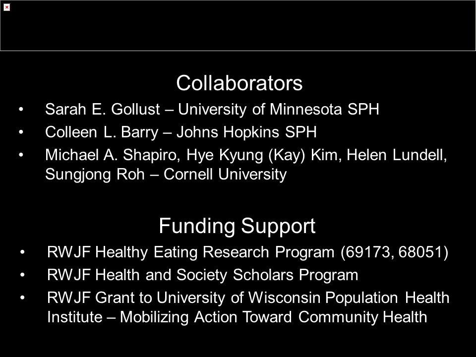 Collaborators Sarah E. Gollust – University of Minnesota SPH Colleen L.