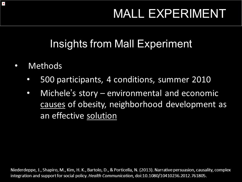 Insights from Mall Experiment Methods 500 participants, 4 conditions, summer 2010 Michele's story – environmental and economic causes of obesity, neighborhood development as an effective solution Niederdeppe, J., Shapiro, M., Kim, H.
