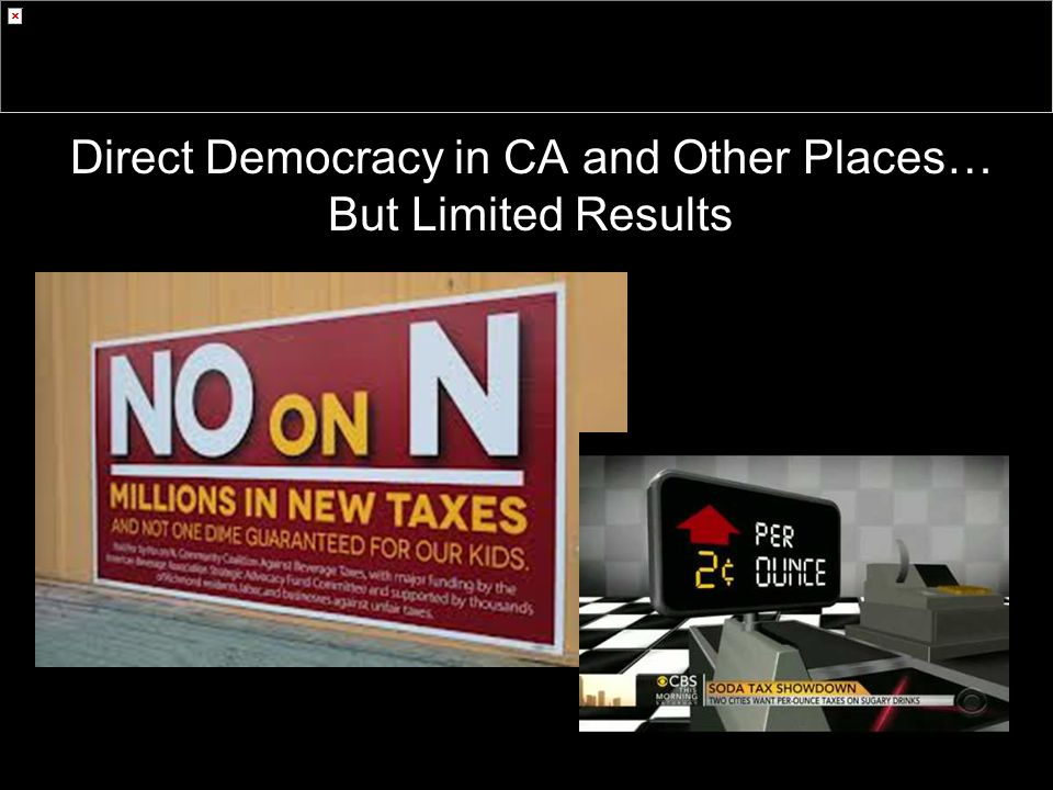 Direct Democracy in CA and Other Places… But Limited Results