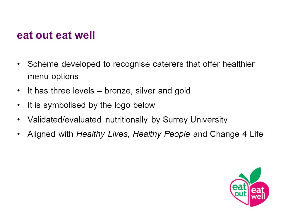 eat out eat well Scheme developed to recognise caterers that offer healthier menu options It has three levels – bronze, silver and gold It is symbolised by the logo below Validated/evaluated nutritionally by Surrey University Aligned with Healthy Lives, Healthy People and Change 4 Life