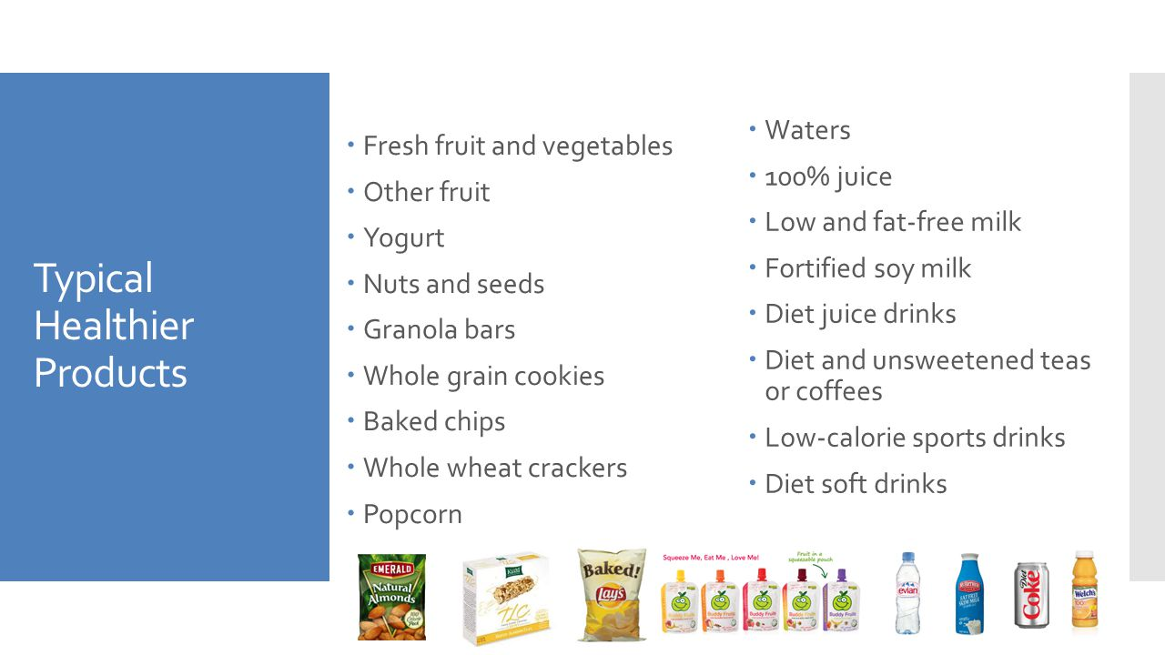 Typical Healthier Products  Fresh fruit and vegetables  Other fruit  Yogurt  Nuts and seeds  Granola bars  Whole grain cookies  Baked chips  W