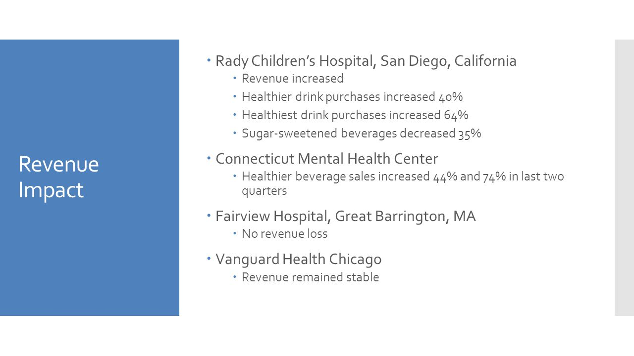 Revenue Impact  Rady Children's Hospital, San Diego, California  Revenue increased  Healthier drink purchases increased 40%  Healthiest drink purc