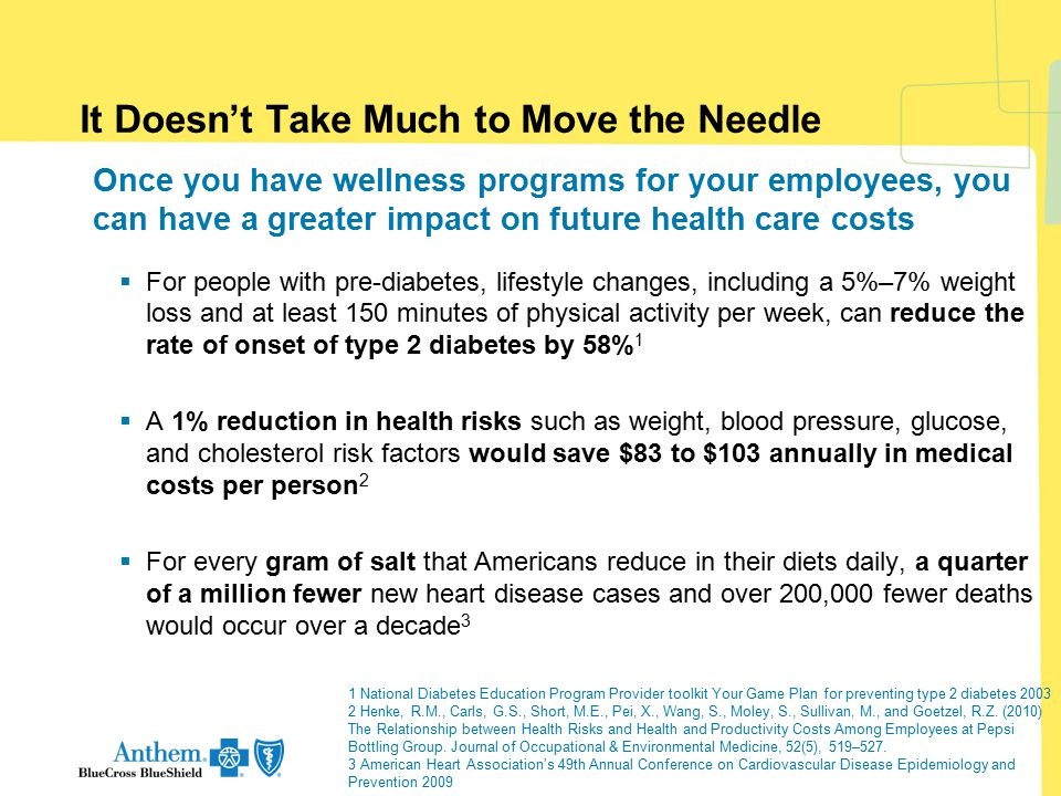 It Doesn't Take Much to Move the Needle Once you have wellness programs for your employees, you can have a greater impact on future health care costs